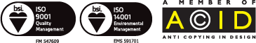 Badgemaster Certifications - ISO 9001, ISO 14001, A Member of ACID (Anti Copying in Design)